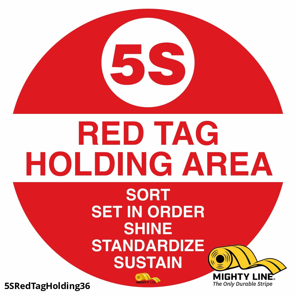 5S Red Tag Holding Mighty Line Floor Sign Industrial Strength 36 Wide Product