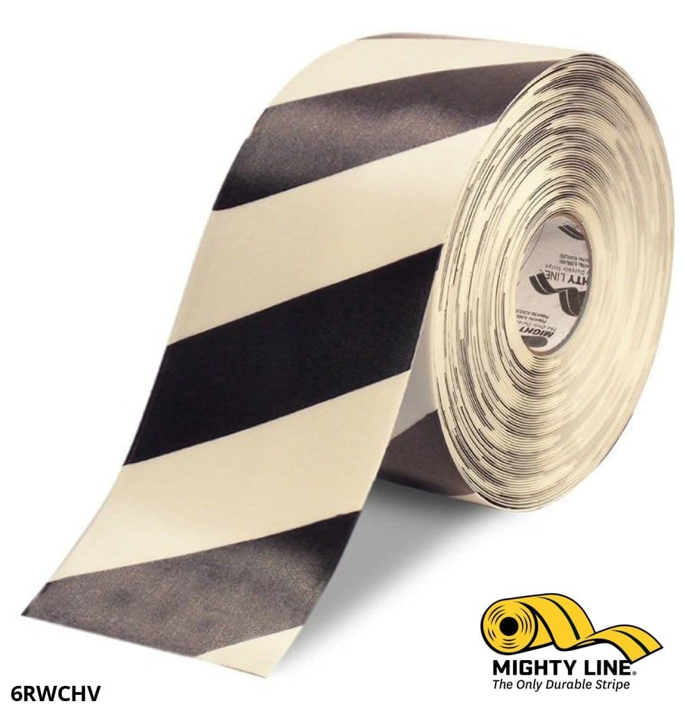 6 White Tape With Black Chevrons - 100 Roll Safety Floor Product