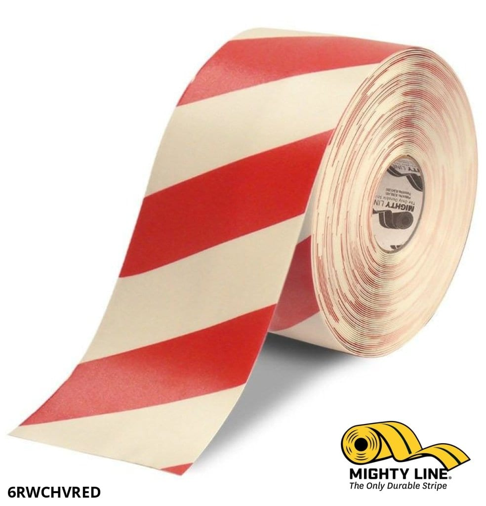 6 White Tape With Red Chevrons - 100 Roll Safety Floor Product