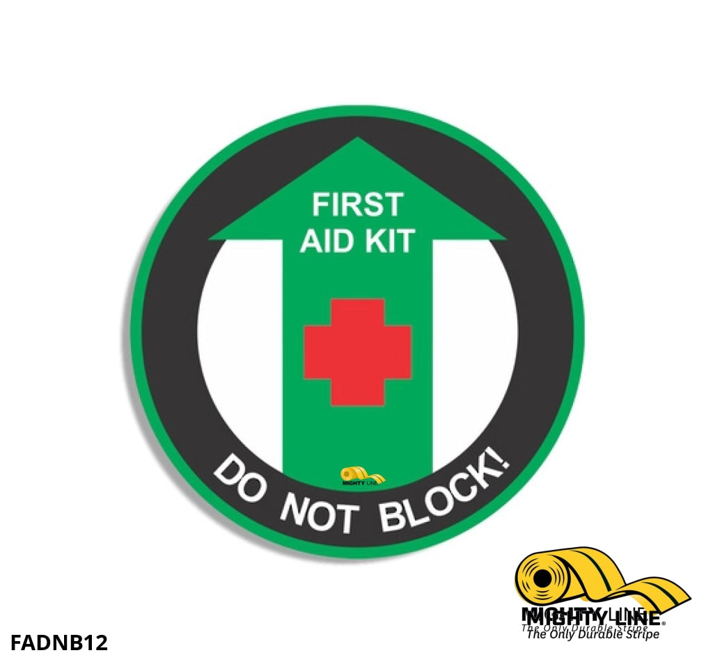 First Aid Kit Do Not Block Mighty Line Floor Sign Industrial Strength 12 Wide Product