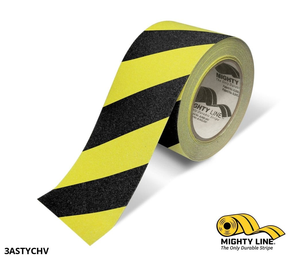 3 Yellow With Black Chevrons Anti-Slip Floor Tape - 60 Roll Product
