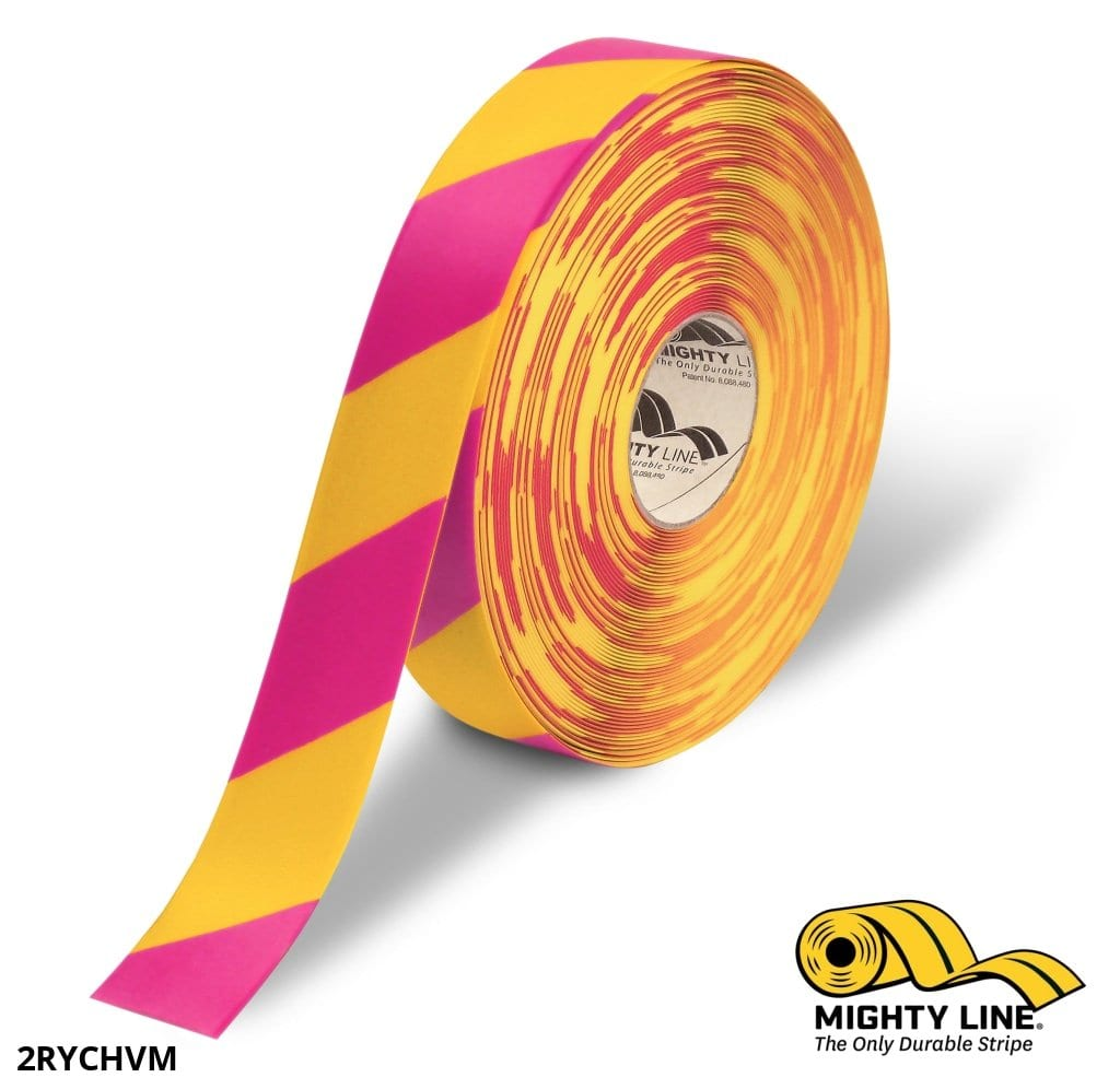 2 Yellow Tape With Magenta Chevrons - 100 Roll Safety Floor Product