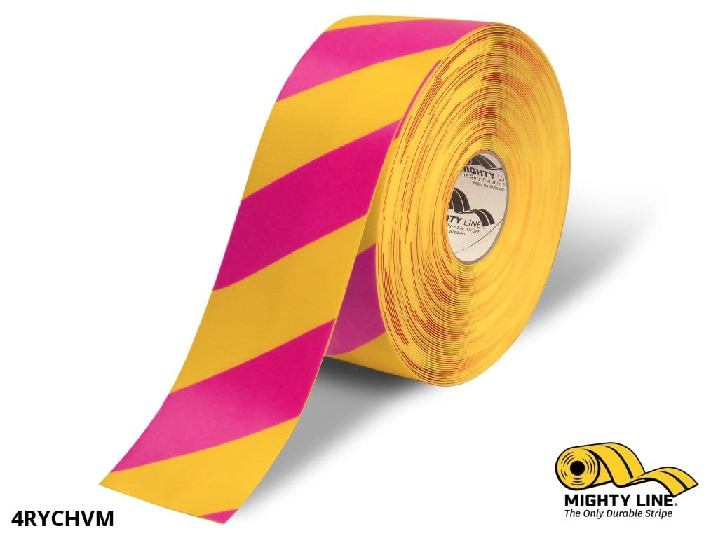 4 Yellow Tape With Magenta Chevrons - 100 Roll Safety Floor Product