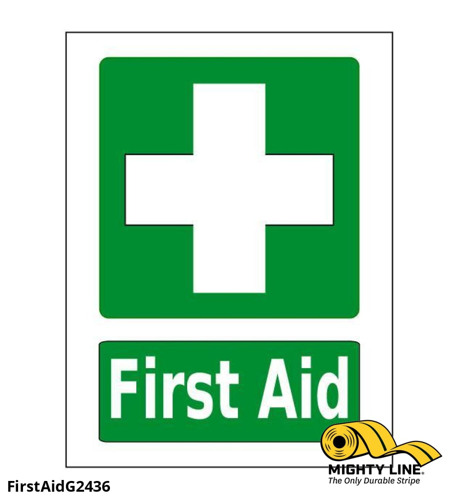 First Aid Station Sign (Green) - 1 Floor Marking Product
