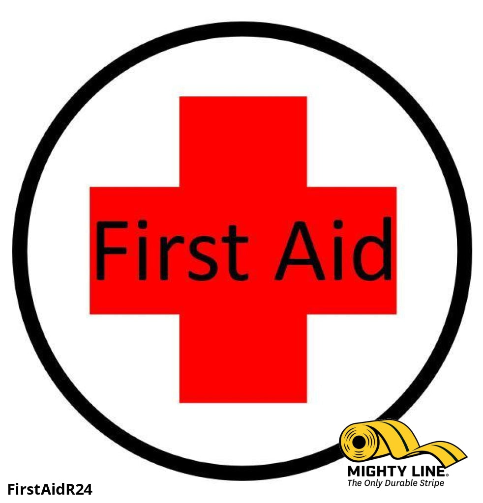 First Aid Station Here (Words) Sign - 1 Floor Marking Product