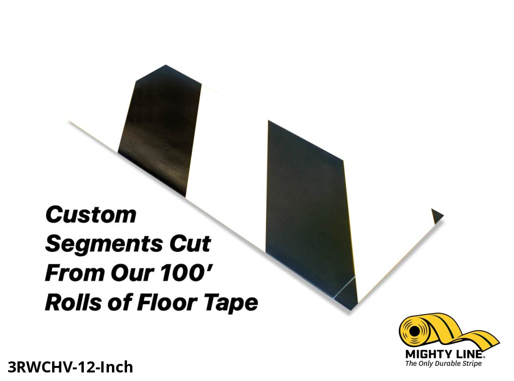 Custom Cut Segments - 3 White Tape With Black Diagonals 100 Roll Product