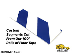 Custom Cut Segments - 3 White Tape With Blue Diagonals 100 Roll Product