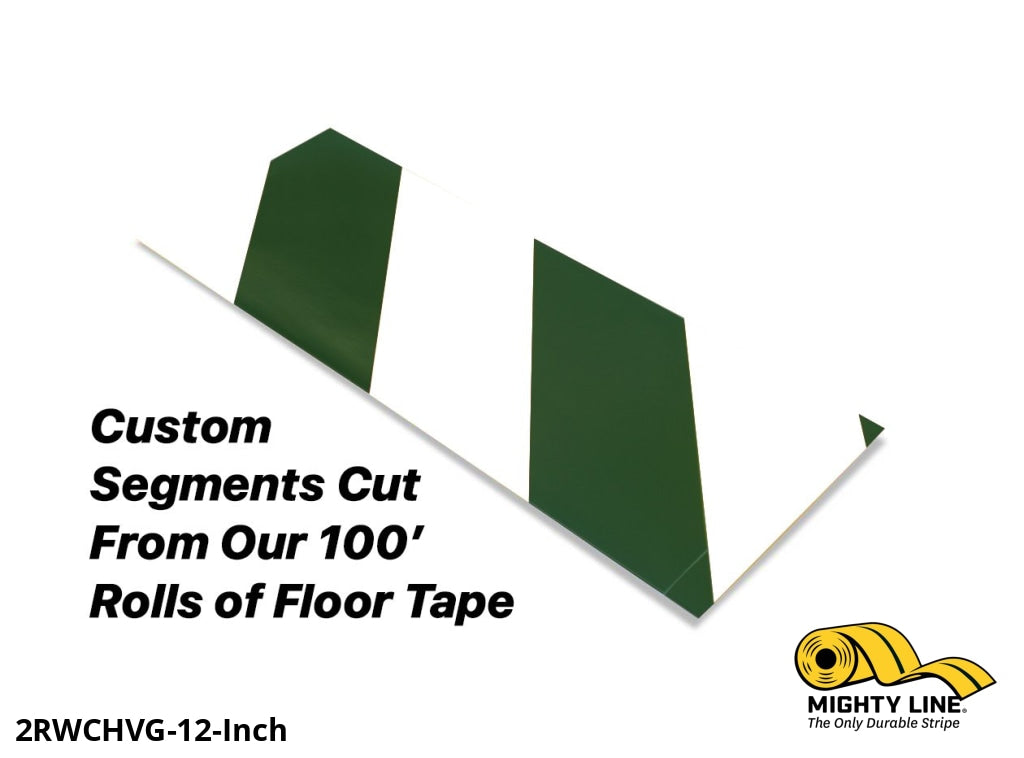 Custom Cut Segments - 2 White Tape With Green Diagonals 100 Roll Product