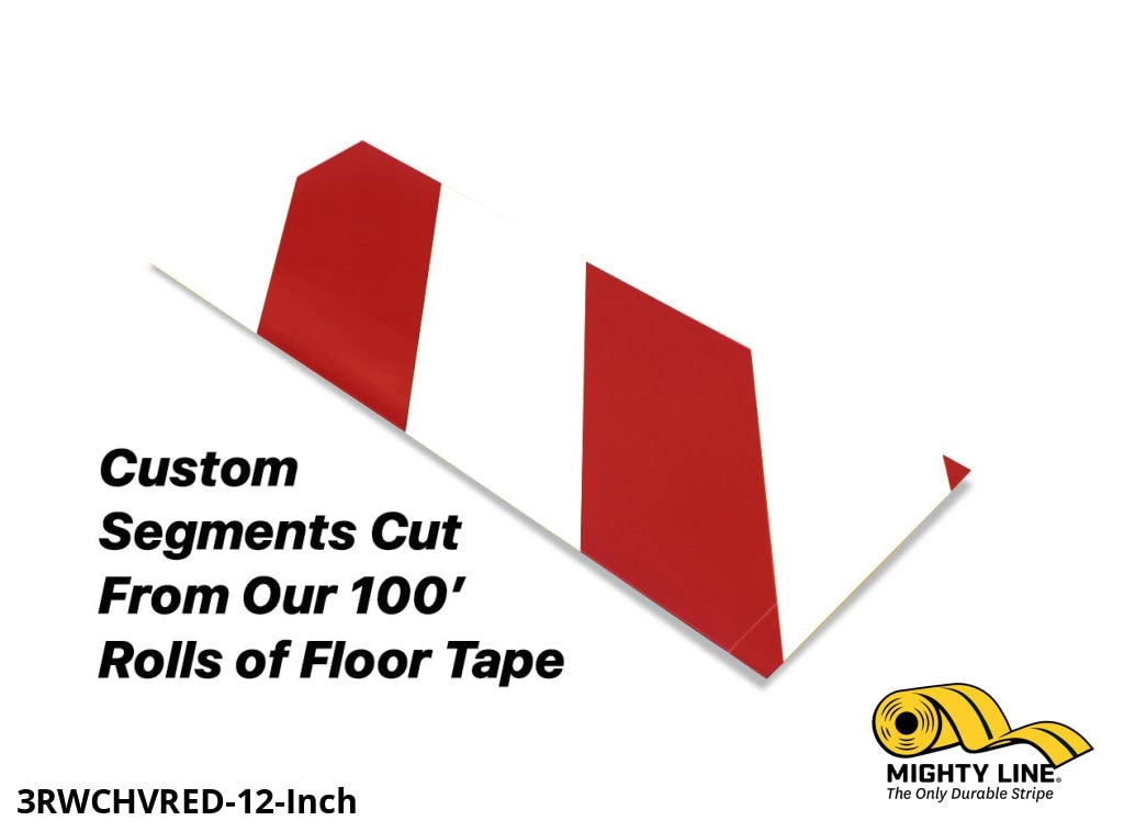 Custom Cut Segments - 3 White Tape With Red Diagonals 100 Roll Product