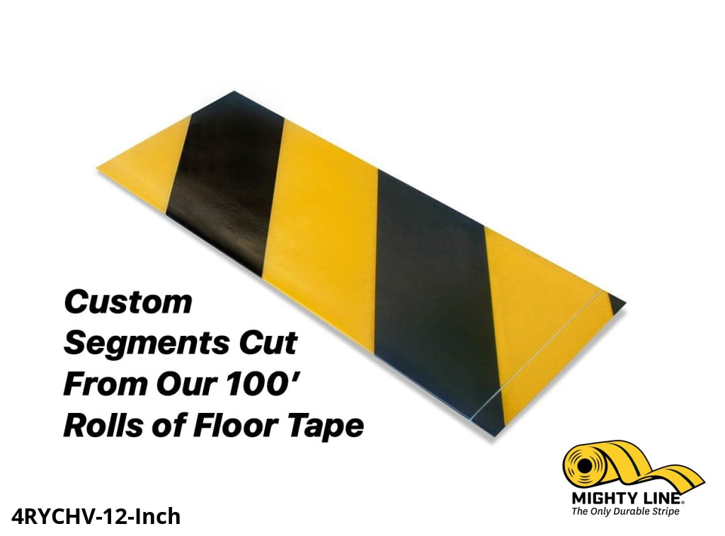 Custom Cut Segments - 4 Yellow Tape With Black Diagonals 100 Roll Product