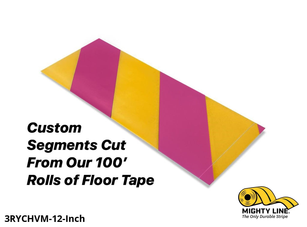 Custom Cut Segments - 3 Yellow Tape With Magenta Diagonals 100 Roll Product