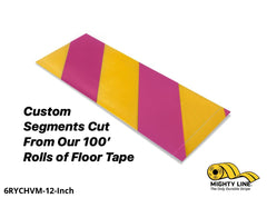 Custom Cut Segments - 6 Yellow Tape With Magenta Diagonals 100 Roll Product