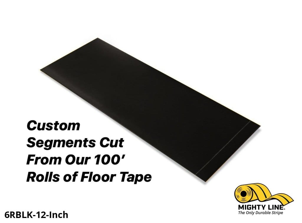 Custom Cut Segments - 6 Black Solid Color Tape 100 Roll Product