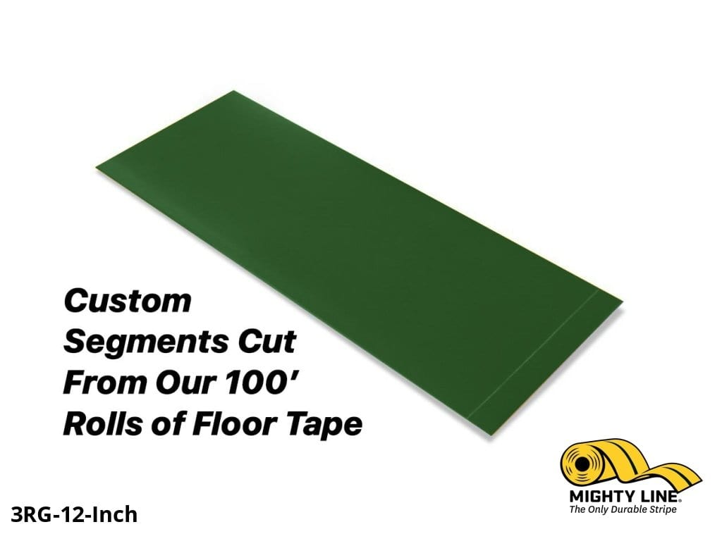 Custom Cut Segments - 3 Green Solid Color Tape 100 Roll Product