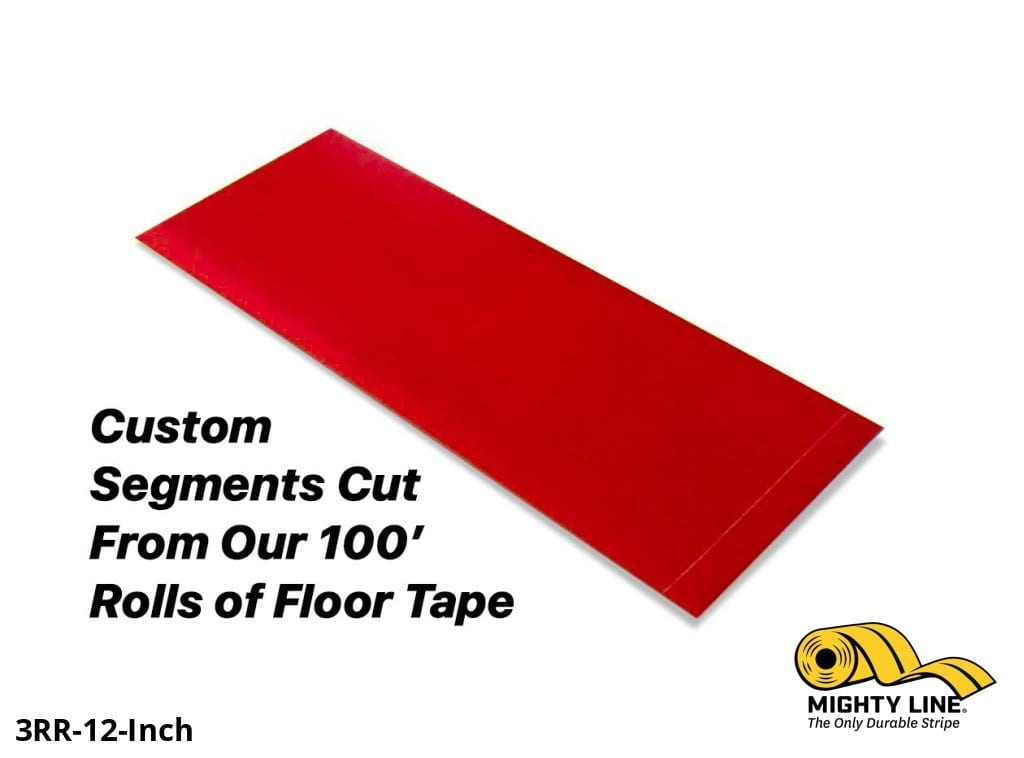 Custom Cut Segments - 3 Red Solid Color Tape 100 Roll Product