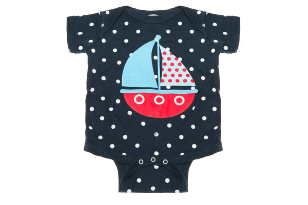 Sailboat With Polka Dots Onesie
