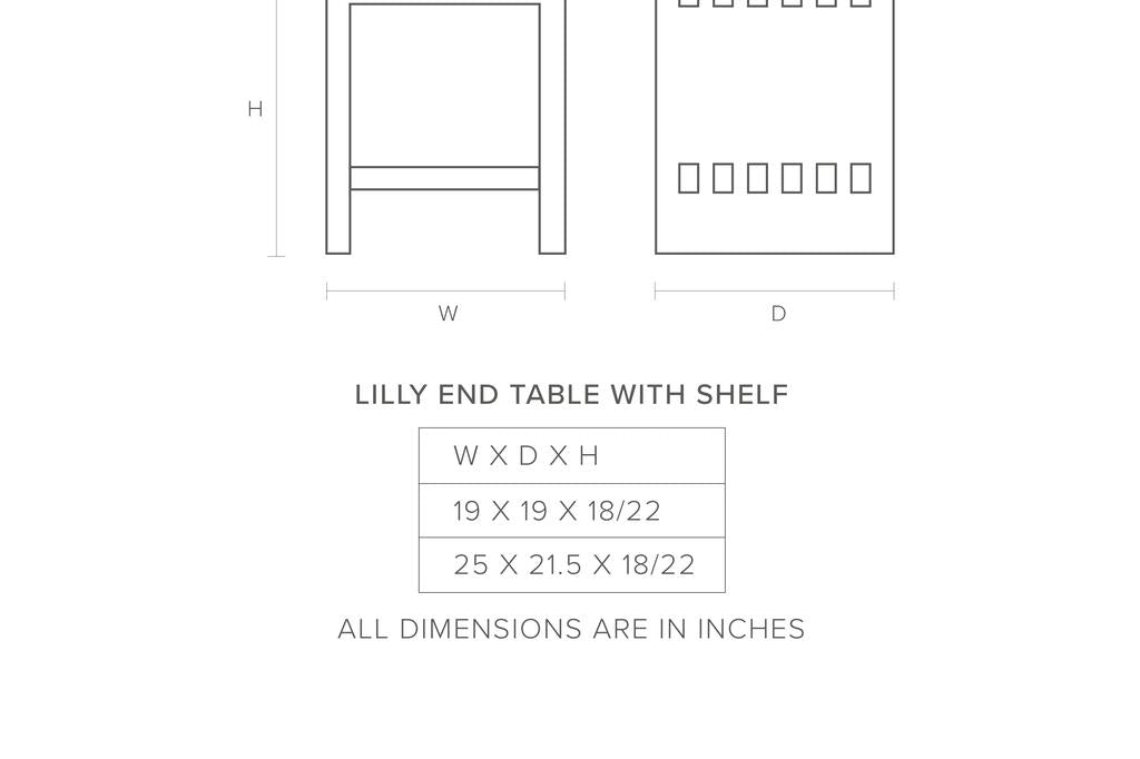 dimensions-picture: Lilly End Table With Shelf