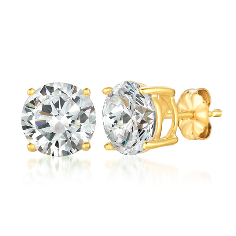 Solitaire Brilliant Stud Earrings Finished in 18kt Yellow Gold - 6.0 Carat