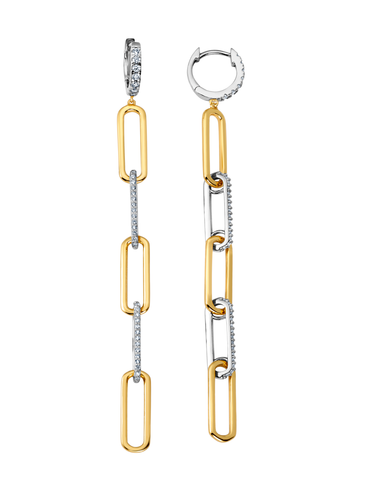 Two Tone Huggie Open Link Earrings Finished in Pure Platinum & 18kt Yellow Gold