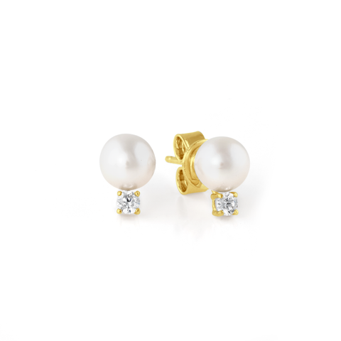 Accented Pearl Stud Earrings Finished in 18kt Yellow Gold