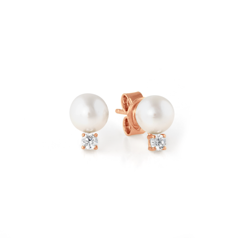 Accented Pearl Stud Earrings Finished in 18kt Rose Gold