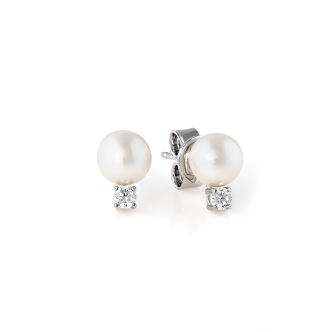 Accented Pearl Stud Earrings Finished in Pure Platinum