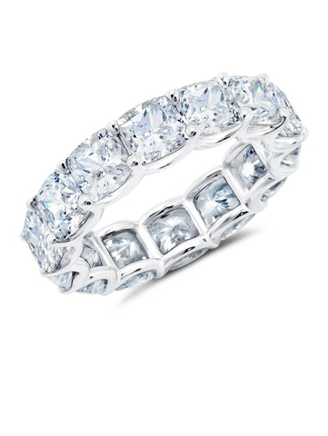 Large Cushion Cut Eternity Band Finished in Pure Platinum