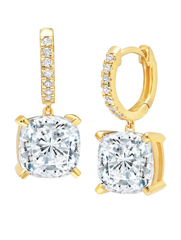 Gold Bliss Cushion Cut Drop cubic zirconia Earrings