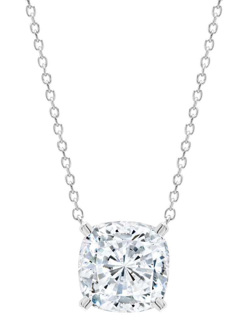 Pure platinum Bliss Cushion Cut cubic zirconia Necklace