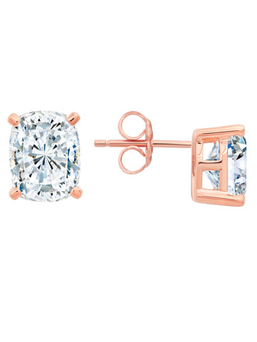 Radiant Cushion Cut Earrings finished in 18KT Rose Gold