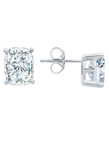 Radiant Cushion Cut Earrings finished in Pure Platinum