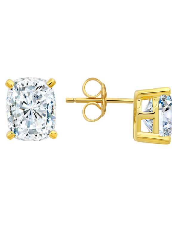 Radiant Cushion Cut Earrings Finished in 18kt Yellow Gold