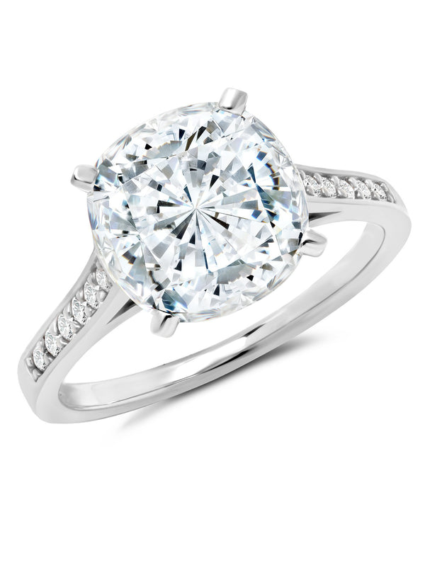 Pure platinum Bliss Cushion Cut cubic zirconia cocktail Ring