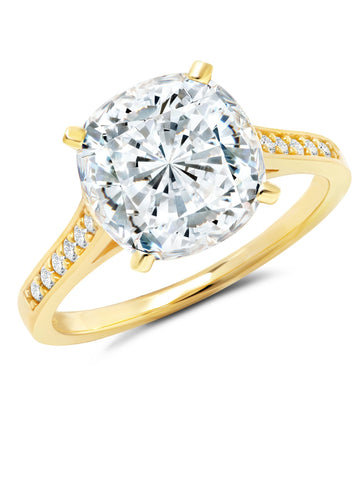Gold Bliss Cushion Cut cubic zirconia cocktail Ring