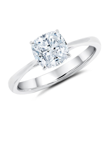 Pure platinum cubic zirconia Cushion Cut Solitaire engagement Ring