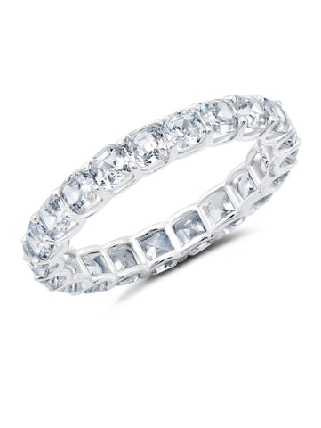 Small Asscher Cut Eternity Band Finished in Pure Platinum