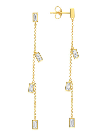 Prism Baguette Drop Earrings Finished in 18kt Yellow Gold
