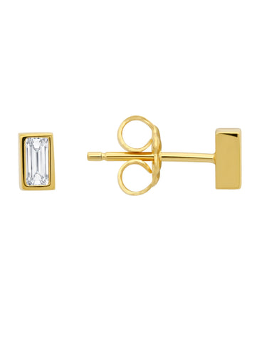 Prism Baguette Stud Earrings Finished in 18kt Yellow Gold