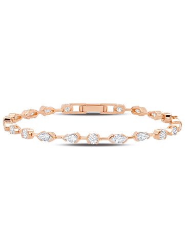A Lavish Cubic Zirconia Tennis Bracelet Finished in 18kt Rose Gold from CRISLU.