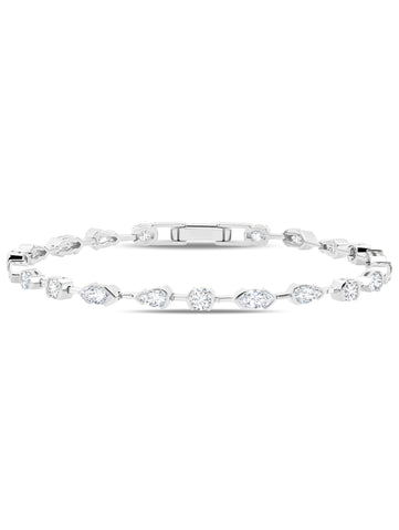 A Lavish Cubic Zirconia Tennis Bracelet Finished in Pure Platinum from CRISLU.