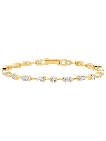 A Lavish Cubic Zirconia Tennis Bracelet Finished in 18kt Gold from CRISLU.