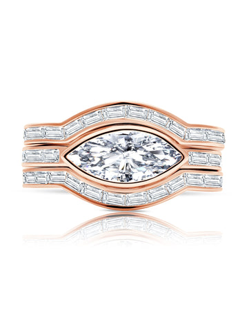 Fickle- 18kt Rose Gold Marquise Solitaire w/ Baguette Accent Band Ring Set