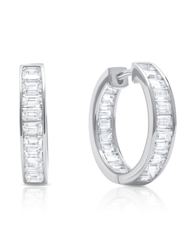 Parallel- Platinum Baguette Hoop Earrings
