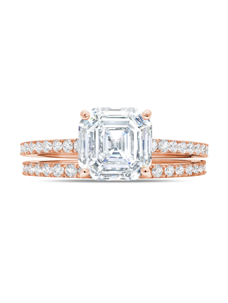 Large Asscher Solitaire and Pave Ring Set Finished in 18kt Rose Gold