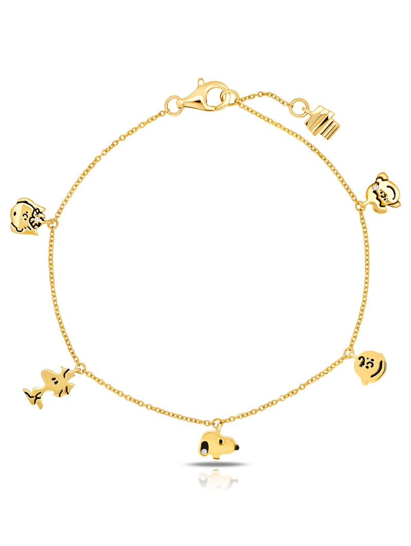 Snoopy & the Gang Charm Bracelet in 18kt Yellow Gold