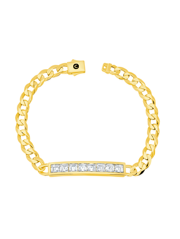 Mens Channel Set ID Bracelet Finished in 18kt Yellow Gold