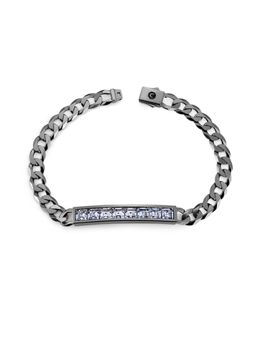 Mens Channel Set ID Bracelet Finished in Black Rhodium