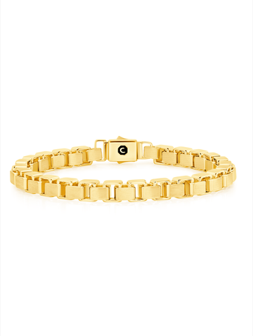 Mens Box Chain Bracelet Finished in 18kt Yellow Gold
