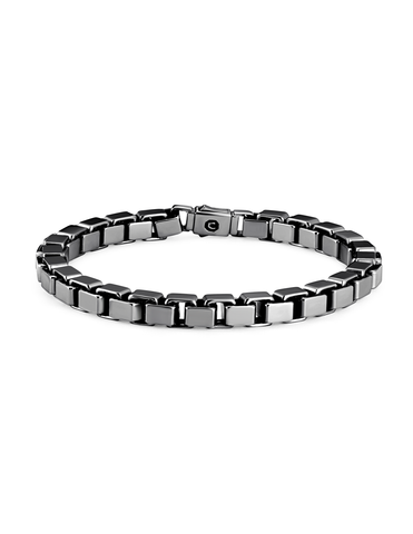 Mens Box Chain Bracelet Finished in Black Rhodium