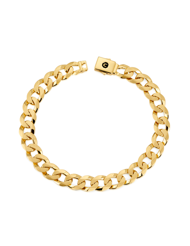 Mens Curb Chain Bracelet Finished in 18kt Yellow Gold